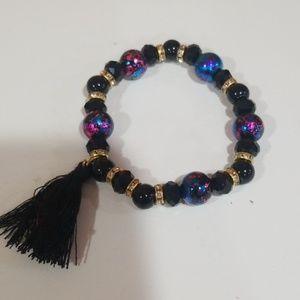 Black glass bead bracelet